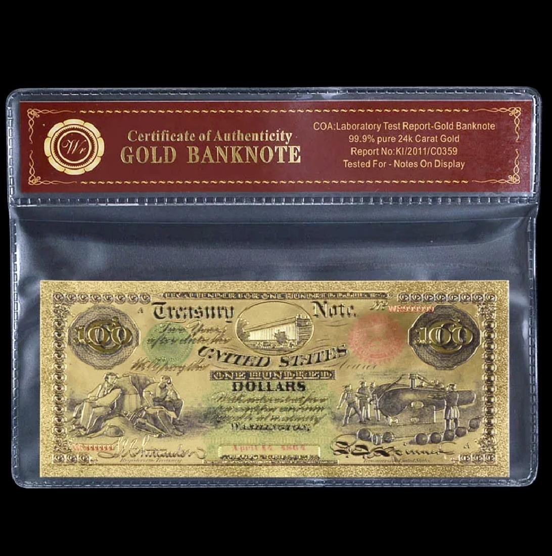 1864 Civil War 24k Gold $100 U.S. Treasury Note
