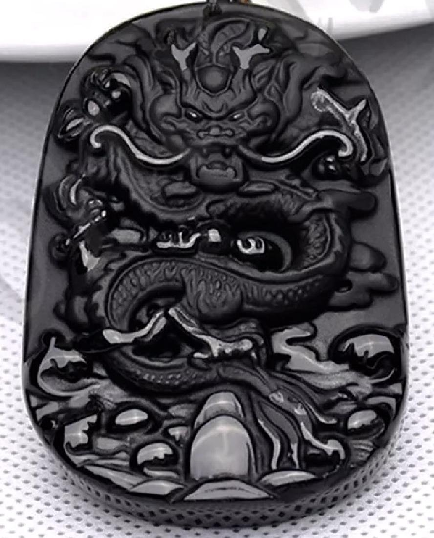 Ornate Black Jade Chinese Carved Dragon Amulet