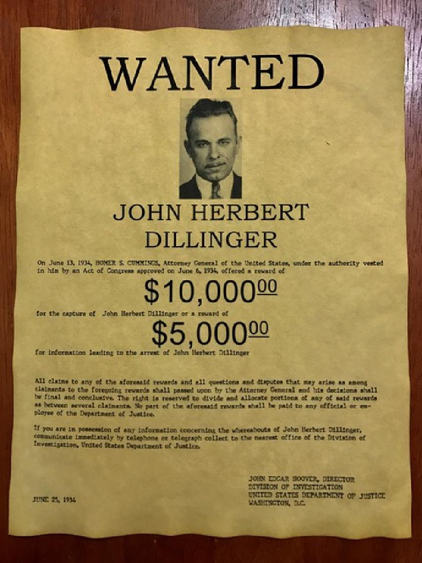 Dated 1934 JOHN DILLINGER Wanted Poster