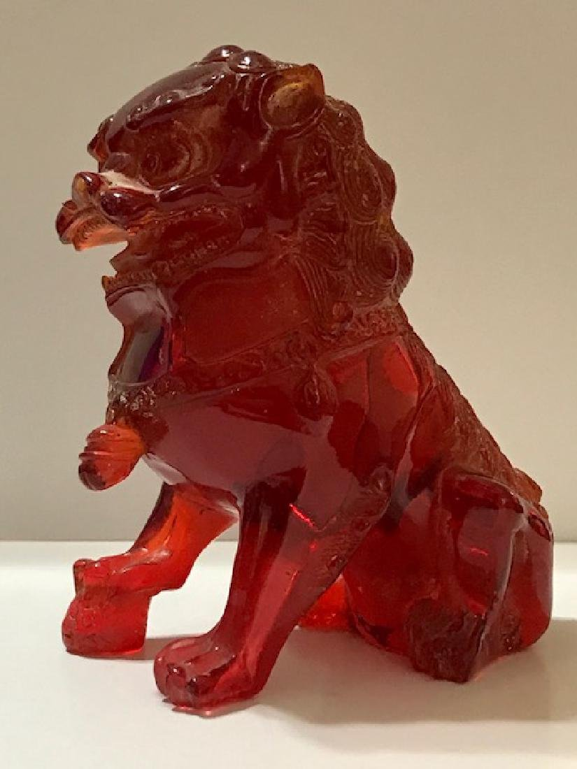 Ornate Carved Red Amber Temple Guardian FOO DOG - 2