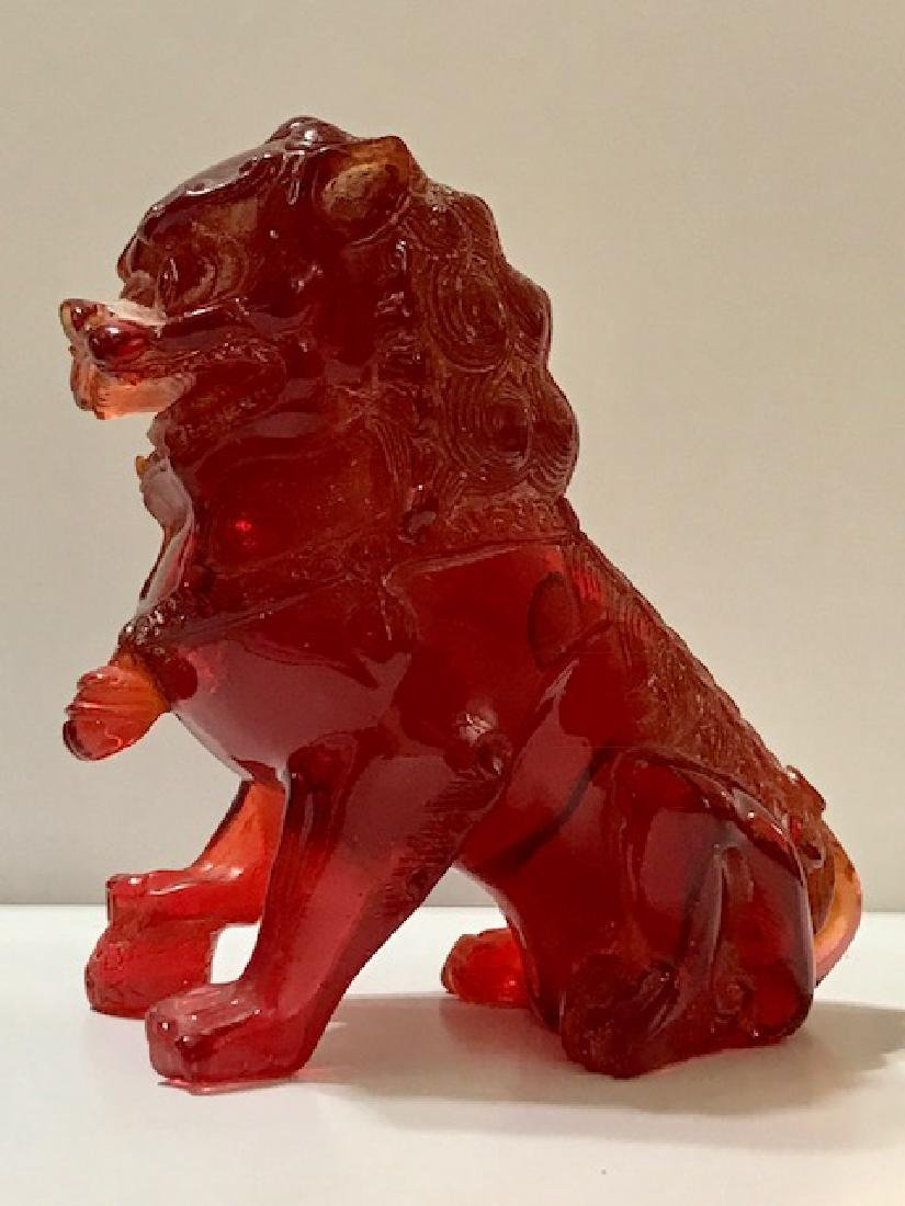 Ornate Carved Red Amber Temple Guardian FOO DOG - 5