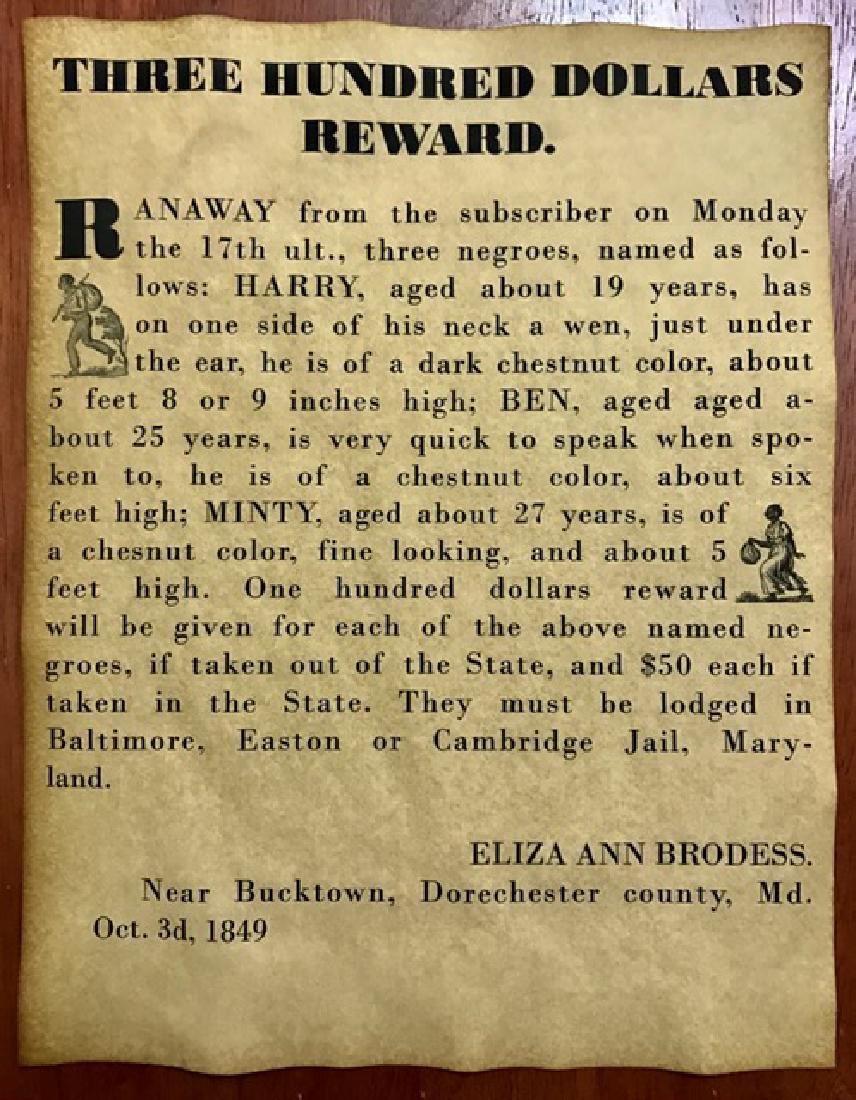 1849 Black Americana Runaway Slave Reward Poster