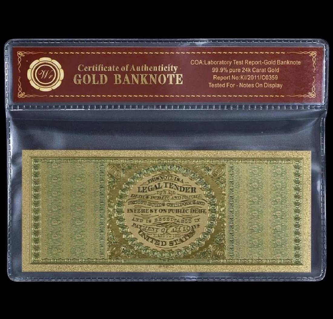 1863 Civil War 24k Gold $100 U.S. Eagle Banknote - 2