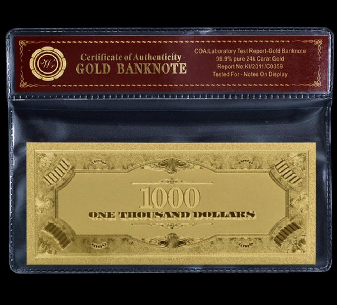 1928 Lab Tested $1,000 Gold Certificate Banknote - 2