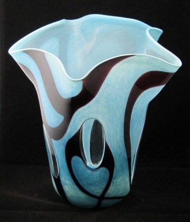 Rare MURANO Ruffle Top Peekaboo Vase