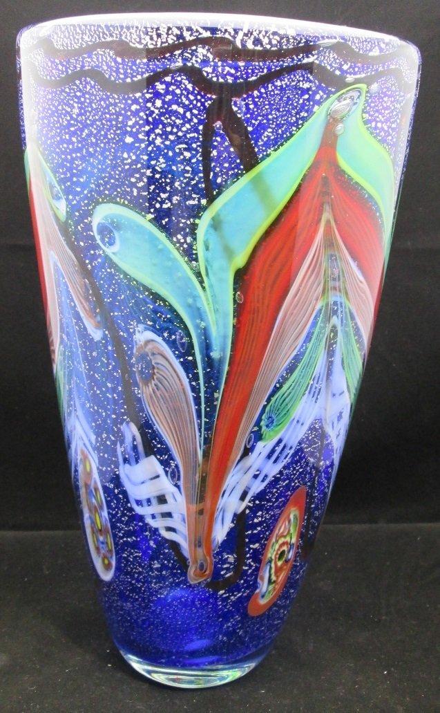 Artist Signed MURANO Vase Cobalt / Shimmer
