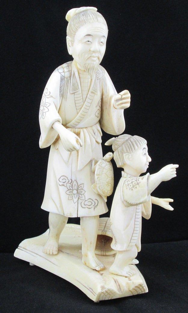 19th Century Genuine Ivory Man & Child, Signed