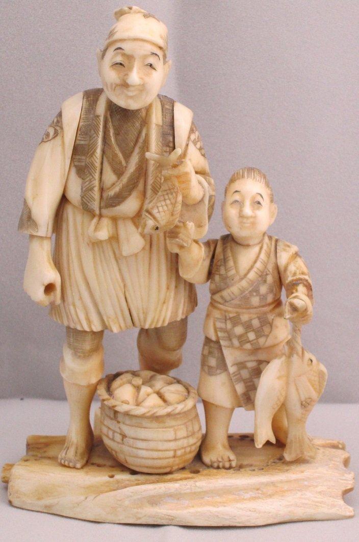 19th Century Genuine Ivory Fisherman & Child