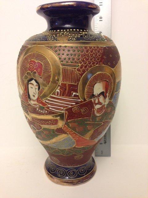 LG. Hand Painted Japanese SATSUMA Moriage Vase