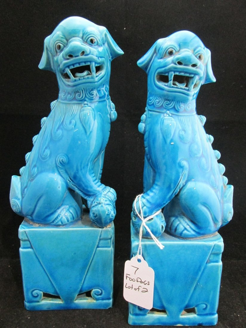 Pair of Very Early Hand Painted Porcelain Foo Dogs