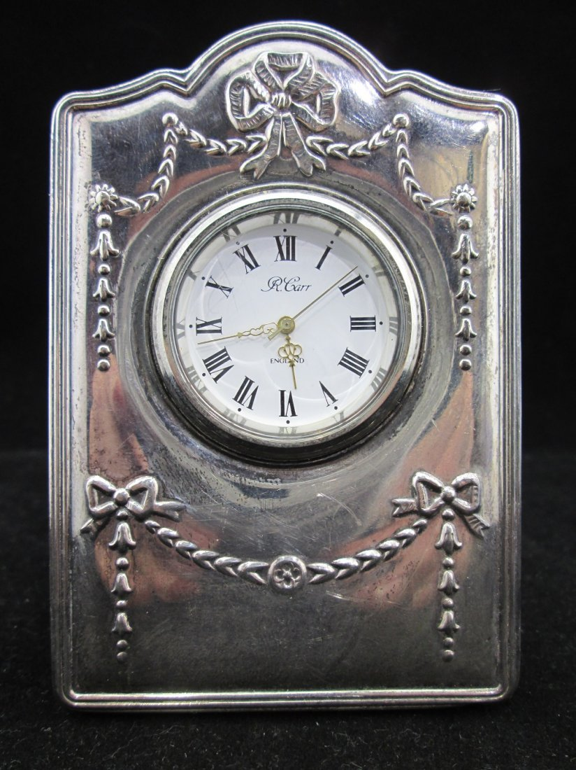 R. Carr English Sterling Silver Travel Clock