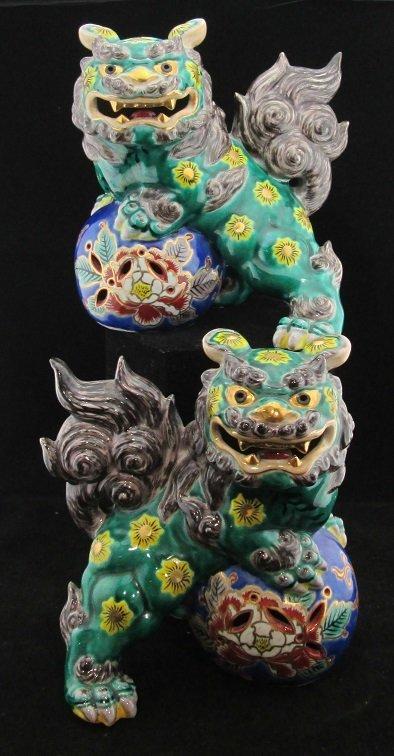 Pair Of Vintage Oriental Hand Painted Foo Dogs