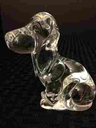 Genuine DAUM FRANCE Crystal Basset Hound