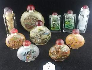 10 vtg. reverse painted Asian scent/snuff bottles