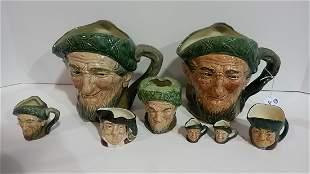 Lot of 7 old Royal Doulton toby jugs & ashtray