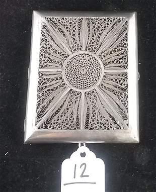 Early Sterling Silver Filigree Cigarette Case