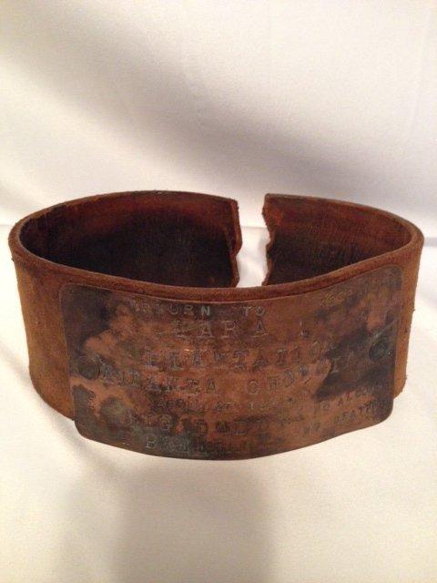 V. Rare 1846 Black Americana Leather Slave Collar