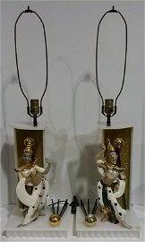 Rare Pair of Mid Century Lucite Moss Lamps