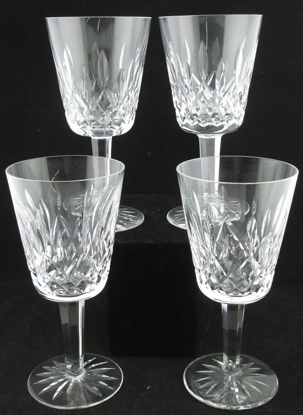 Lot of 4 Waterford Crystal Wine Glasses