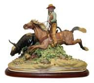 Algora Porcelain Figural Group of Horseman and Bull