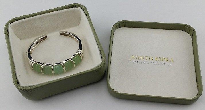 Judith Ripka Sterling Silver & Jade Cuff Bracelet