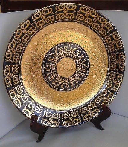 Large Cobalt & Gold Decorated Porcelain Tray