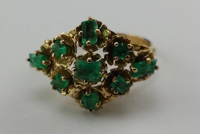 Large Vintage  18kt Gold & Emerald Cocktail Ring