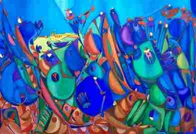 Large Jose Maria Mijares Cuban Art Oil On Canvas