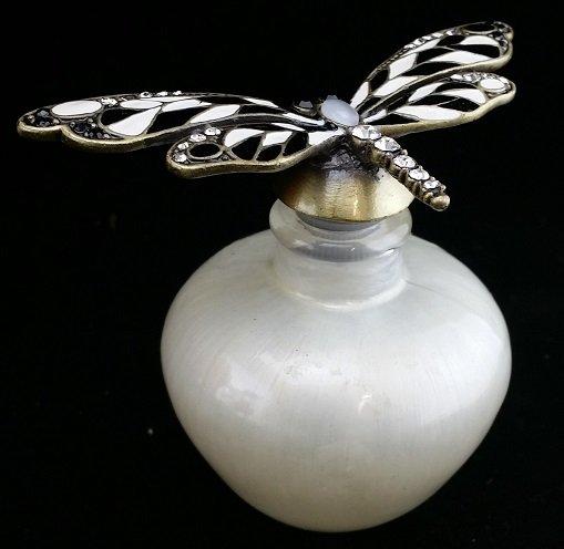 Enamel & Rhinestone Butterfly Perfume Bottle