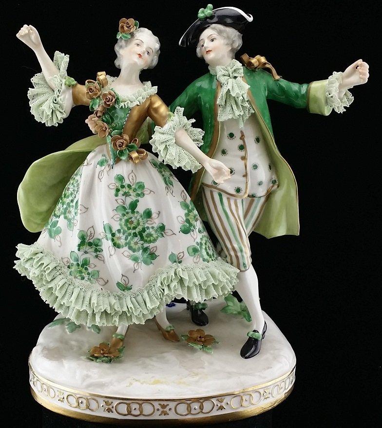 Vintage Dresden Porcelain Victorian Couple Figure