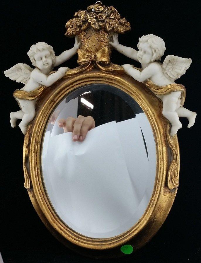Vintage Style GIlded Cherub Mirror