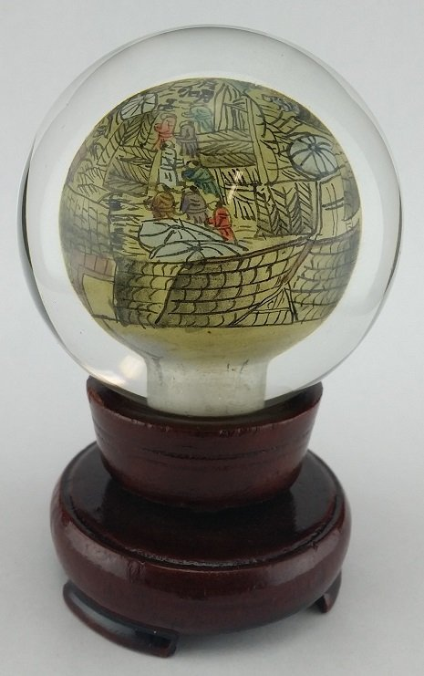 Vintage reverse painted Asian paperweight