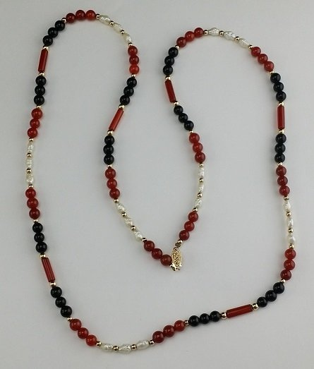 14k Gold with Pearl & Agate Necklace