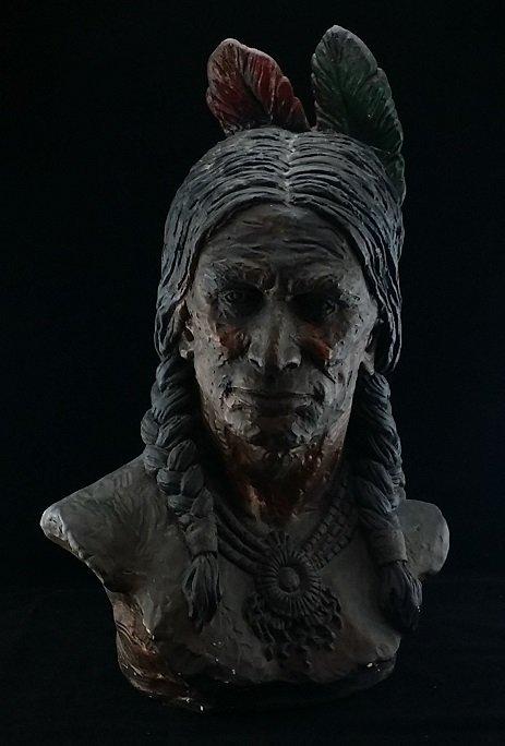 Clay Indian Head Polychrome