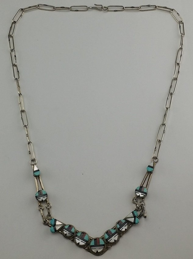 Sterling Native American Style Turquoise Necklace