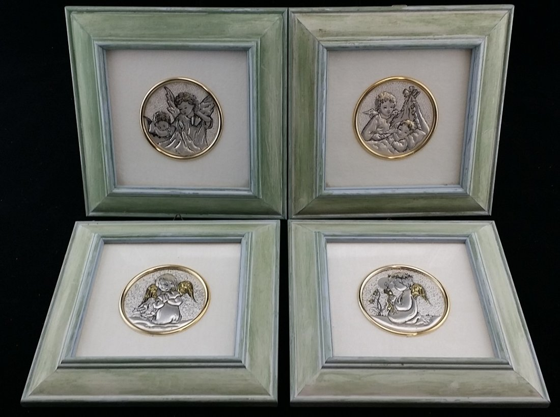 Lot of 4 Sterling Silver Wall Plaque Made in Italy