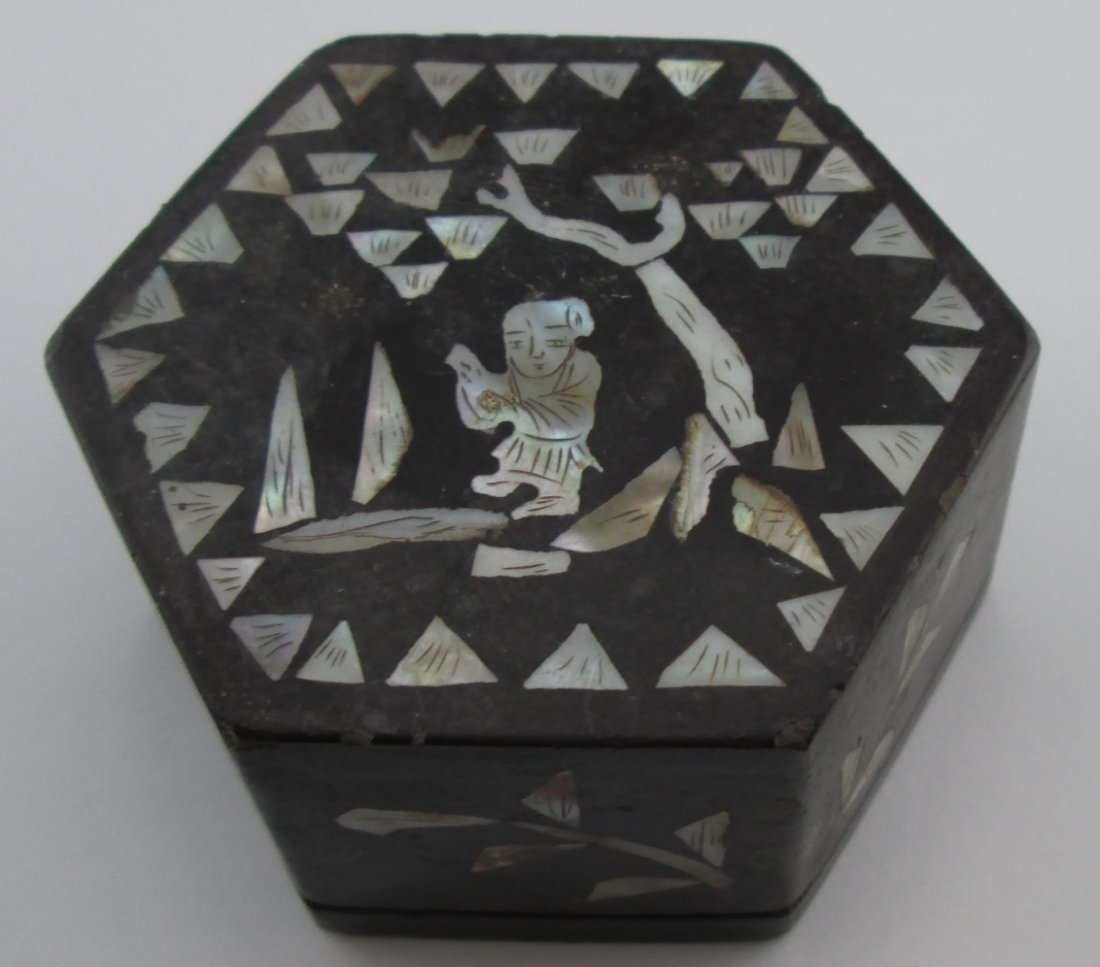 19th Century Chinese Mother of Pearl Cricket Box
