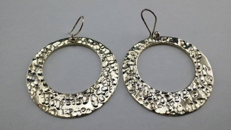 Heavy hammered .925 sterling silver earrings