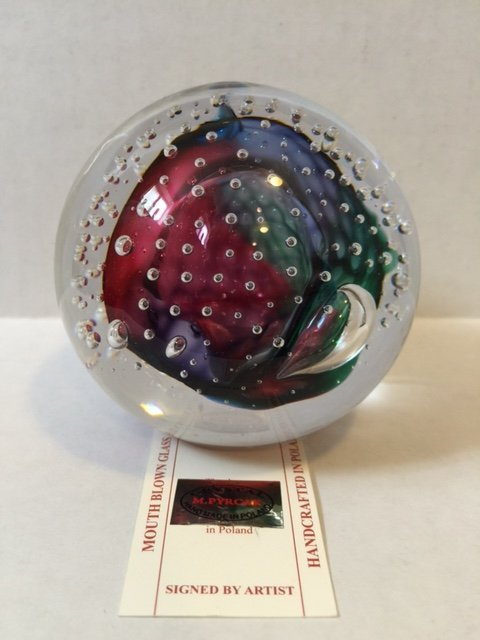 Rare Signed M. PYRCAK Studio Art Glass Paperweight