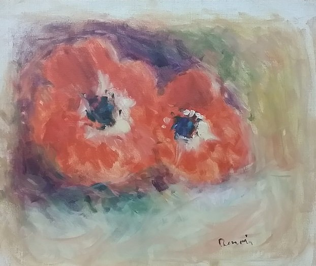 Poppies Oil on Canvas Signed Renoir - 2