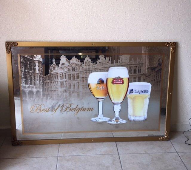 Rare Best of Belgium Beer Framed Bar Mirror