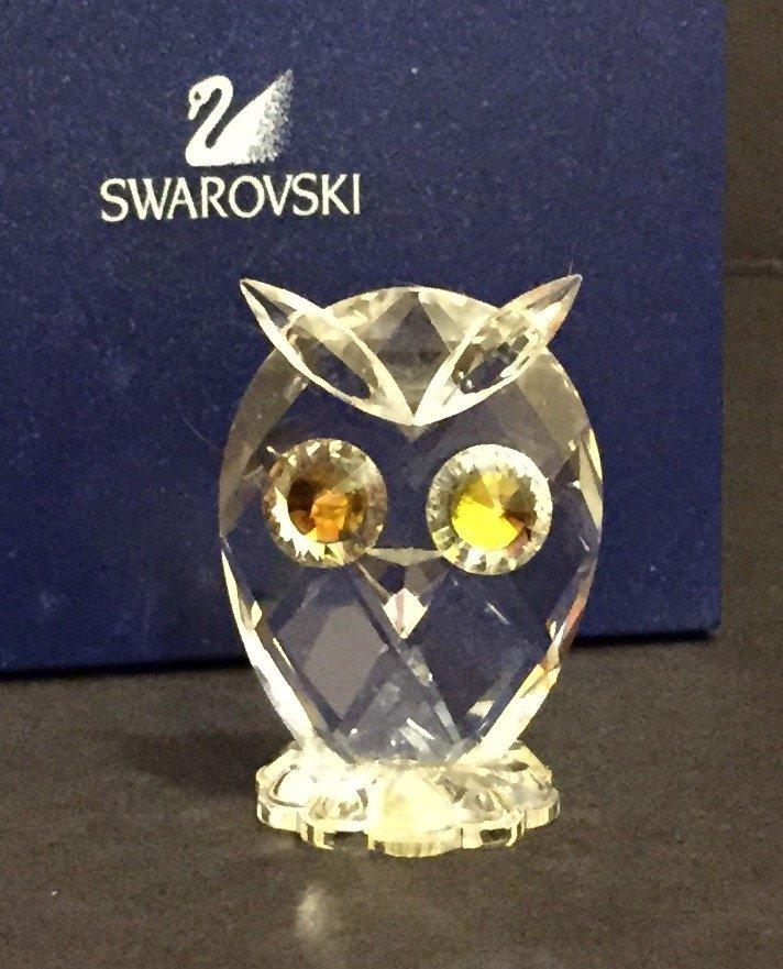 Genuine SWAROVSKI Crystal Owl - Amber Gold Eyes