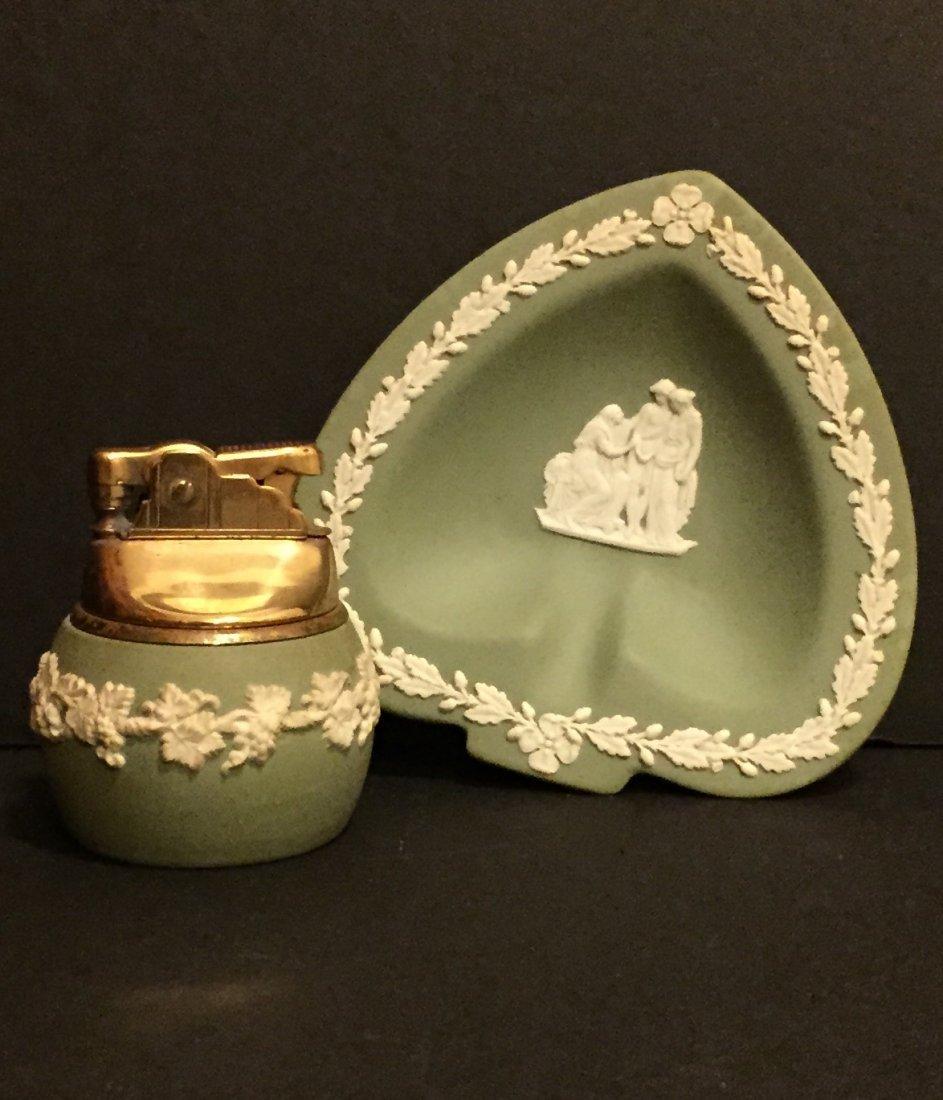 Old WEDGWOOD Green Jasperware Lighter & Ashtray