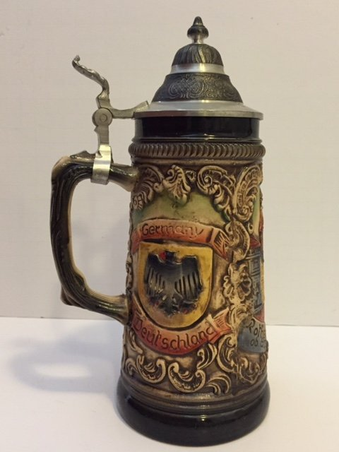 Early Signed German Made Beer Stein - Great Piece