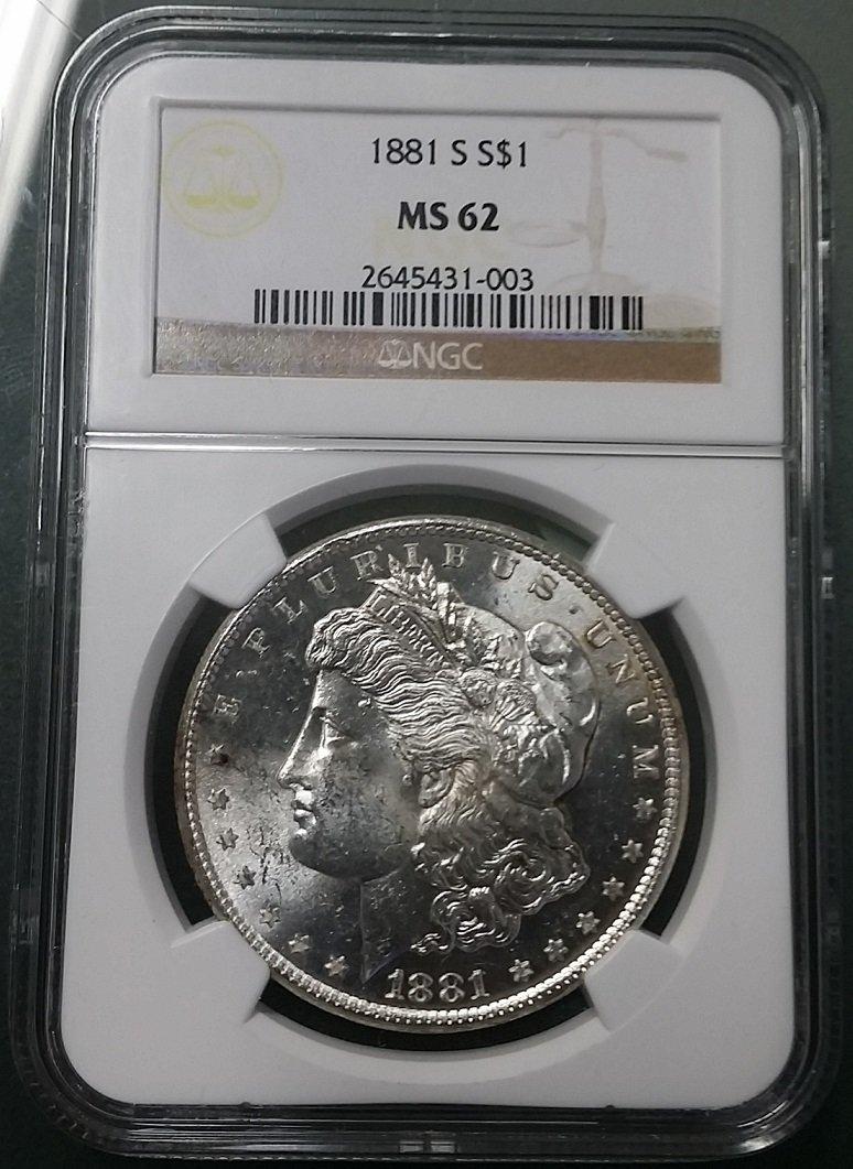 1881 S US Morgan Silver Dollar NGC MS62