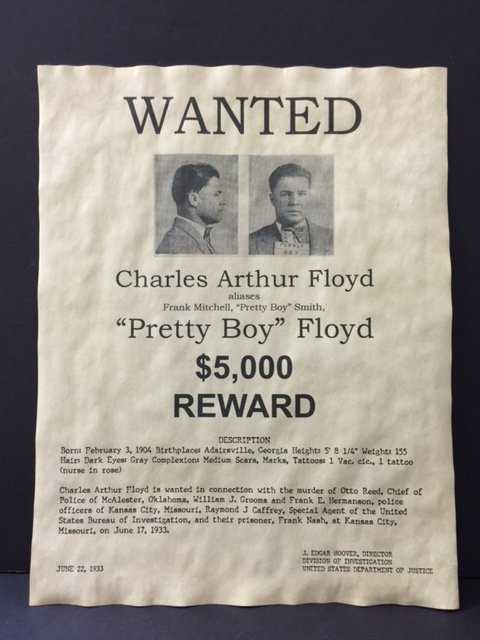 Dated 1933 Pretty Boy Floyd Wanted Poster