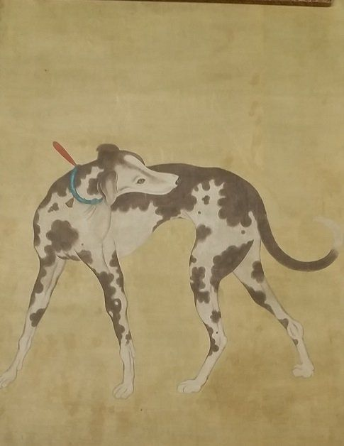 Large Antique Oriental Dog Painting