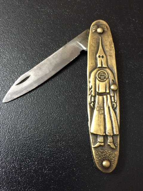 Vintage Kkk Ku Klux Klan Embossed Pocket Knife