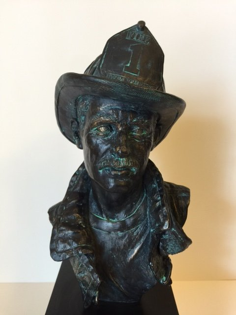 """RARE """"Red Hats of Courage"""" Bronze Fireman Bust 14"""""""