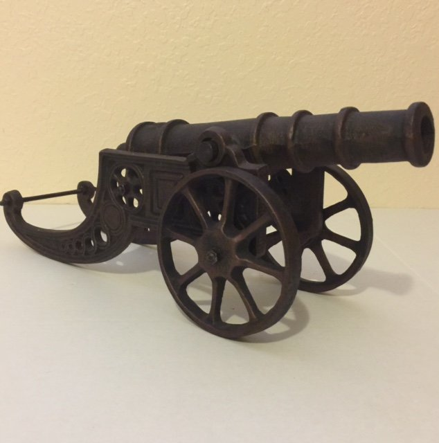 Very Early Large Cast Iron Cannon - Heavy & Ornate